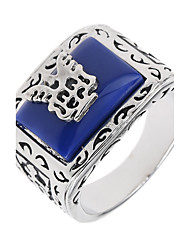 cheap -Geometric Logo Band Ring - Unique Design, Punk, Euramerican 8 / 9 / 10 / 11 / 12 Blue For Special Occasion