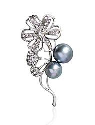 cheap -Women's Brooches Rhinestone Imitation PearlBasic Unique Design Natural Friendship Floral Imitation Pearl Fashion Personalized Double