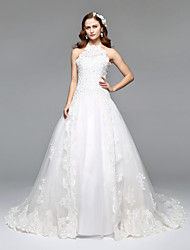 A-Line Princess Halter Court Train Lace Tulle Wedding Dress with Lace by LAN TING BRIDE®
