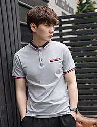 à manches courtes T-shirt des hommes d'été de coton mâle&# 39; col mince couleur unie robe à manches courtes hommes de revers&#