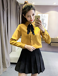 cheap -Women's Vintage Cotton Polyester Blouse - Solid Shirt Collar