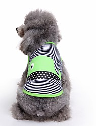 cheap -Cat Dog Vest Dog Clothes Stripe Green Blue Cotton Costume For Pets Men's Women's Cute Casual/Daily Fashion