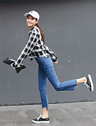 Sign new high waist was thin denim trousers frayed irregular micro speakers wide leg pants women
