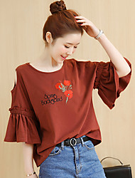 Sign 2017 spring models chest embroidery leakage shoulder lotus sleeve T-shirt loose cotton Ms.
