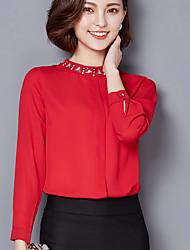 Mujer Simple Ropa de Negocios Work & Safety Verano Blusa,Escote Chino Color sólido Manga Larga Raso Medio