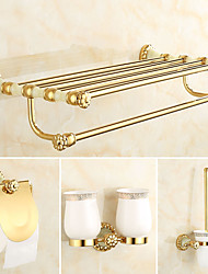 cheap -Bathroom Accessory Set Neoclassical Brass 4pcs - Hotel bath Toilet Brush Holder Toothbrush Holder tower bar Toilet Paper Holders