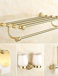 abordables -Set d'Accessoires de Salle de Bain Néoclassique Laiton 4pcs - Bain d'hôtel Porte-brosse WC Porte-brosses à dent barre de tour