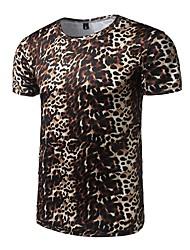 Masculino Camiseta Esportes Casual Simples Verão,Leopardo Poliéster Decote Redondo Manga Curta Média