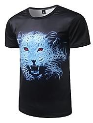 Masculino Camiseta Casual Activo Todas as Estações,Estampa Animal Poliéster Decote Redondo Manga Curta Média
