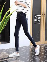 firmare nuovi sottili pantaloni a vita sottile jeans blu scuro piedi femminili pantaloni stretti di stirata