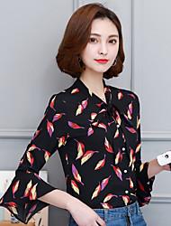 Знак весны новые женские рубашки с длинными рукавами труба рукава flounced шифон рубашка цветочные рубашки с бабочкой галстук