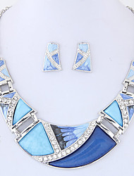 cheap -Women's Jewelry Set 1 Necklace / 1 Pair of Earrings - Euramerican / Fashion Geometric Rainbow / Green / Blue Jewelry Set For Party / Daily