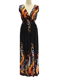 cheap -Sweet Curve Women's Plus Size Boho Swing Dress Backless Print High Rise Maxi Deep V