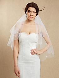 Véus de Noiva Duas Camadas Véu Ruge Véu Ponta dos Dedos Borda Enfeitada Tule Branco Marfim