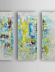 abordables -Pintada a mano Abstracto Horizontal,Modern Tres Paneles Lienzos Pintura al óleo pintada a colgar For Decoración hogareña
