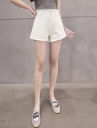 Sign waist Slim Korean version of flash tassels wild wide leg pants denim shorts female students