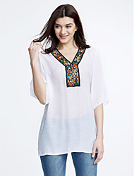 Women's Boho Casual/Daily Simple Summer Blouse,Embroidered V Neck ½ Length Sleeve Blue/White Thin