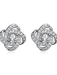 cheap -Women's Adorable Luxury / Bohemian / Hypoallergenic AAA Cubic Zirconia Crystal / Zircon / Silver Plated Stud Earrings - Personalized /