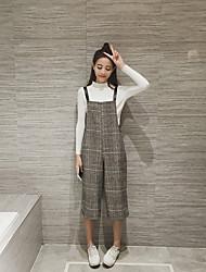 colpo reale! 2016 la versione coreana del nuovo bretelle caduta plaid versione sciolto gamba larga nove grande pezzo pantaloni