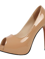 cheap -Women's Shoes Leather Spring / Fall Comfort Heels Stiletto Heel Peep Toe for Dress Red / Almond / Nude
