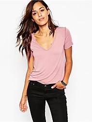 EBAY AliExpress hot new sexy V-neck pink shirt female short-sleeved T-shirt Slim female