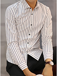 Spring and Autumn men's long-sleeved shirt Slim shirt striped teen high school students inch shirt tide casual men's shirt