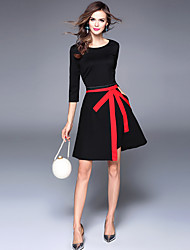 cheap -Women's Work A Line Dress - Solid Colored / Color Block Bow / Split / Spring / Summer