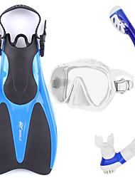 cheap -Snorkel Set Snorkeling Packages Snorkels Diving Fins Snorkel Mask Swim Mask Goggle Dry Top Short Blade Diving / SnorkelingGlass Rubber