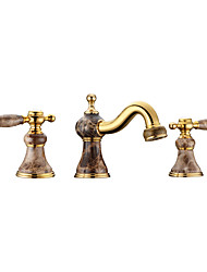 cheap -Contemporary Antique Art Deco/Retro Deck Mounted Rain Shower Widespread Thermostatic Brass Valve Three Holes Two Handles Three Holes