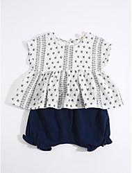 cheap -Girls' Daily Clothing Set, Cotton Linen Summer Blue
