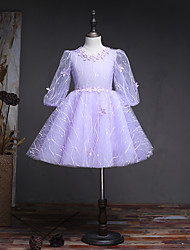 A-Line Knee Length Flower Girl Dress - Lace Tulle Long Sleeves Jewel Neck with Beading