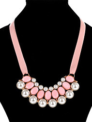cheap -Women's Others Circle Shape Sexy Ribbons Statement Necklace Multi-stone Imitation Pearl Imitation Pearl Silver Plated Nylon Alloy