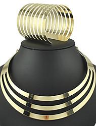 Недорогие -Жен. Комплект ювелирных изделий - Мода, Euramerican Включают Браслет цельное кольцо / Воротничок Золотой / Серебряный Назначение Для вечеринок / Повседневные