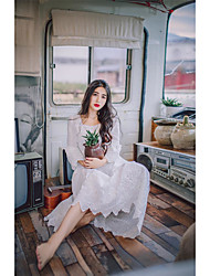 assinar 2017 primavera e no verão as mulheres&# 39; s água bordados costura rendas solúvel vestido de algodão doce senhora