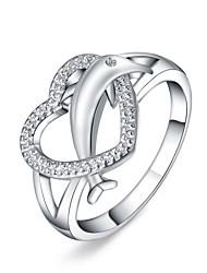 preiswerte -Damen versilbert Ring - Herz Silber Ring Für Alltag