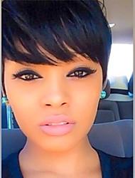 поделки-парик короткие волосы эльфа черные естественные прямые парики волос монолитным человека для женщин