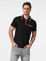 cheap -Men's Work Cotton Polo - Color Block Shirt Collar