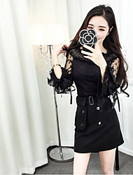 Sign 2016 winter new Korean version of sweet and lovely collar strapless trumpet sleeves wild lace blouse Nett