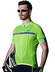 Недорогие -SANTIC Муж. С короткими рукавами Велокофты - Белый Зеленый Велоспорт Джерси, Быстровысыхающий, Дышащий, Впитывает пот и влагу