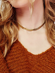 Women's Choker Necklaces Jewelry Single Strand Leaf Alloy Unique Design Fashion Jewelry For Party Special Occasion Birthday Daily Casual