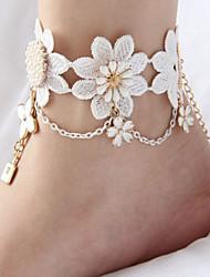 Women's Anklet/Bracelet Lace Fashion Bridal Flower Crown Alphabet Shape Hamsa Hand White Women's JewelryWedding Party Halloween Daily
