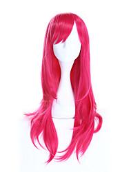 Donna Parrucche sintetiche Lungo Dritto Rosa Parrucca naturale Parrucca di Halloween Parrucca di carnevale Parrucca per travestimenti