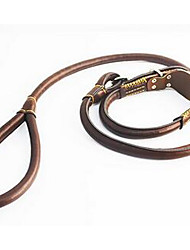 cheap -Dog Collar Leash Adjustable / Retractable Solid Genuine Leather Brown