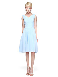 cheap -A-Line V-neck Knee Length Chiffon Bridesmaid Dress with Sash / Ribbon by LAN TING BRIDE®