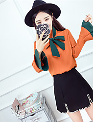 Sign 2017 spring new Korean fashion spell color with a bow horn sleeve shirt Slim wild