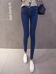 Spot real shot superelastic spring new Slim thin denim jeans women stretch pants feet