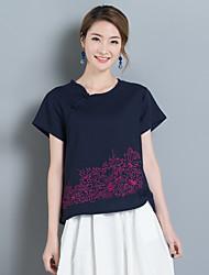 8017 summer new women's national wind cotton loose short-sleeved T-shirt models wild