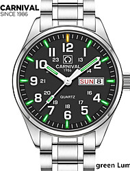cheap -New Carnival Tritium Light mens Watch Quartz Double calendar Date Tritium Luminous Waterproof Military diving Watches full steel