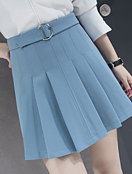 Women's Wedding Daily Daily Wear Casual Mini Skirts,Sexy A Line Pure Color Solid Summer