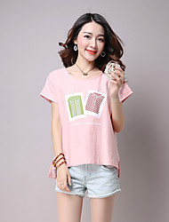 Real shot summer new round neck short sleeve cotton T-shirt women large size was thin casual linen shirt printing
